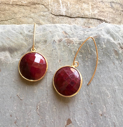large ruby coin gold earrings