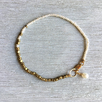 white seed pearl and brass bracelet