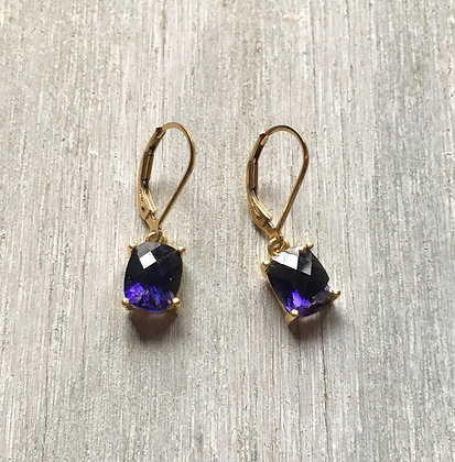 gold set iolite rectangle earrings medium