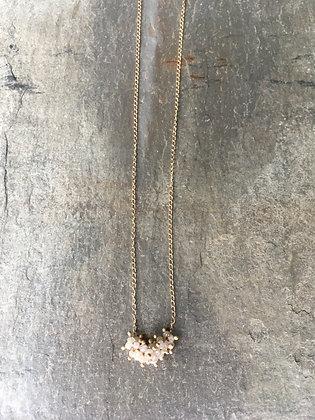 diamond cluster 14k gold necklace