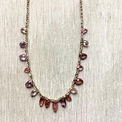 multi spinel crochet necklace