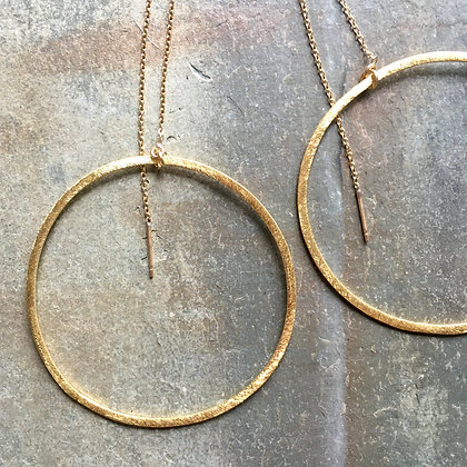 brushed gold circle dangle earrings