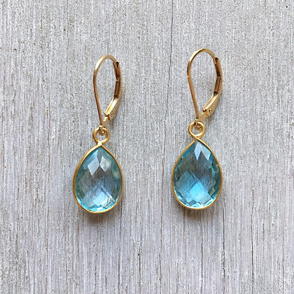 blue topaz on gold earrings
