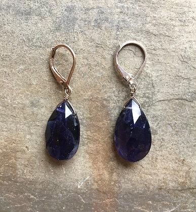 large iolite drop earrings