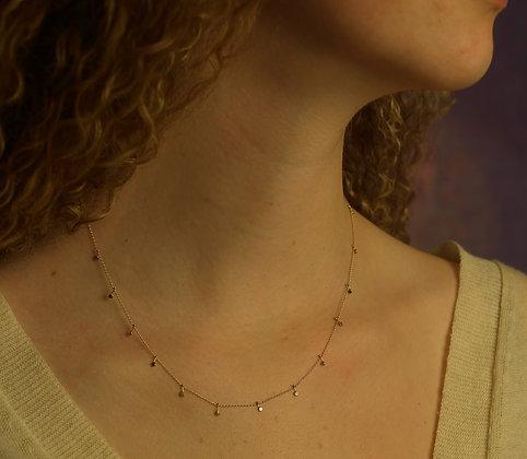 14k gold hammered disc necklace