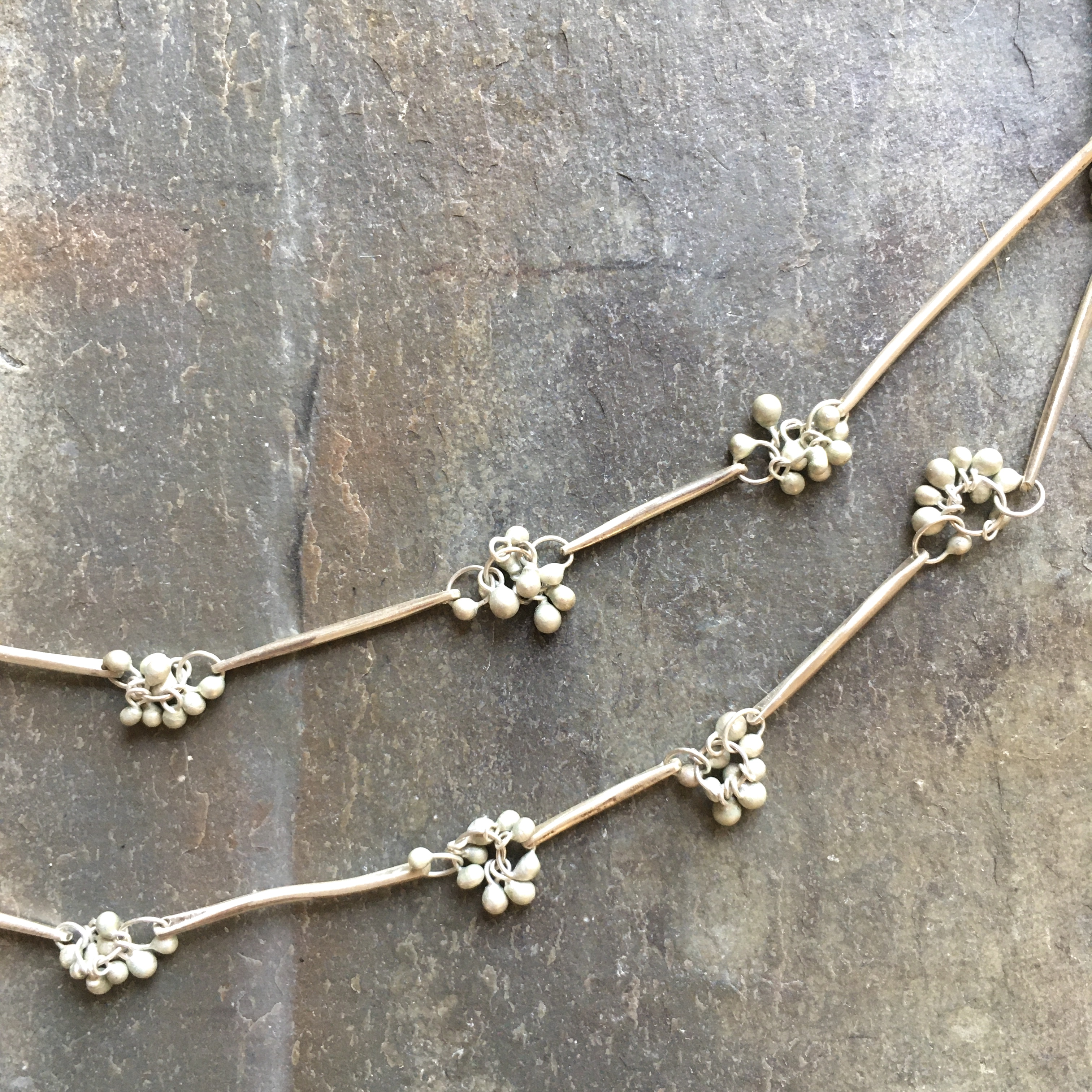 silver twig and bud long necklace
