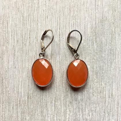 carnelian ovals set in silver earrings