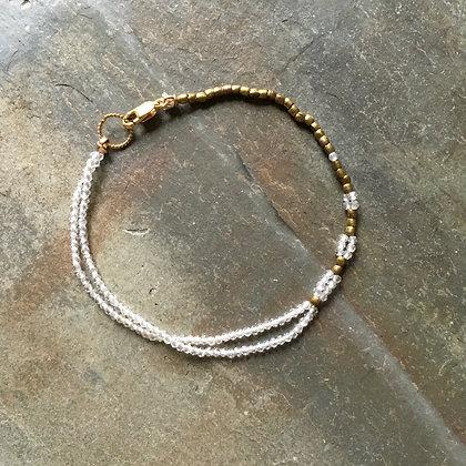crystal quartz woven brass bracelet