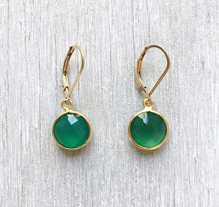 emerald green and gold quartz earrings