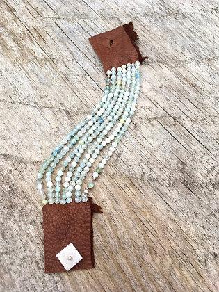 aquamarine and leather 7 bracelet