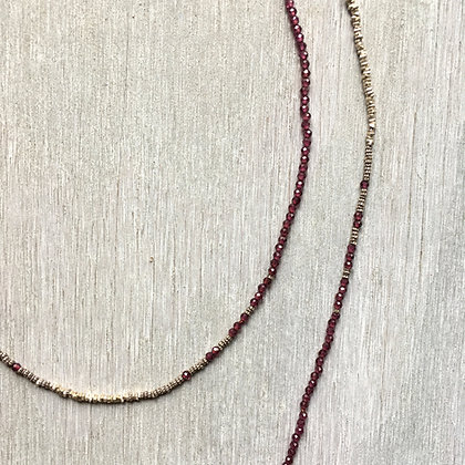 silver and garnet fade long necklace