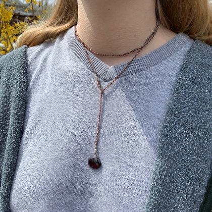 garnet lariat necklace