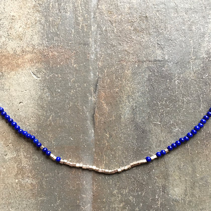 silver lapis fade necklace