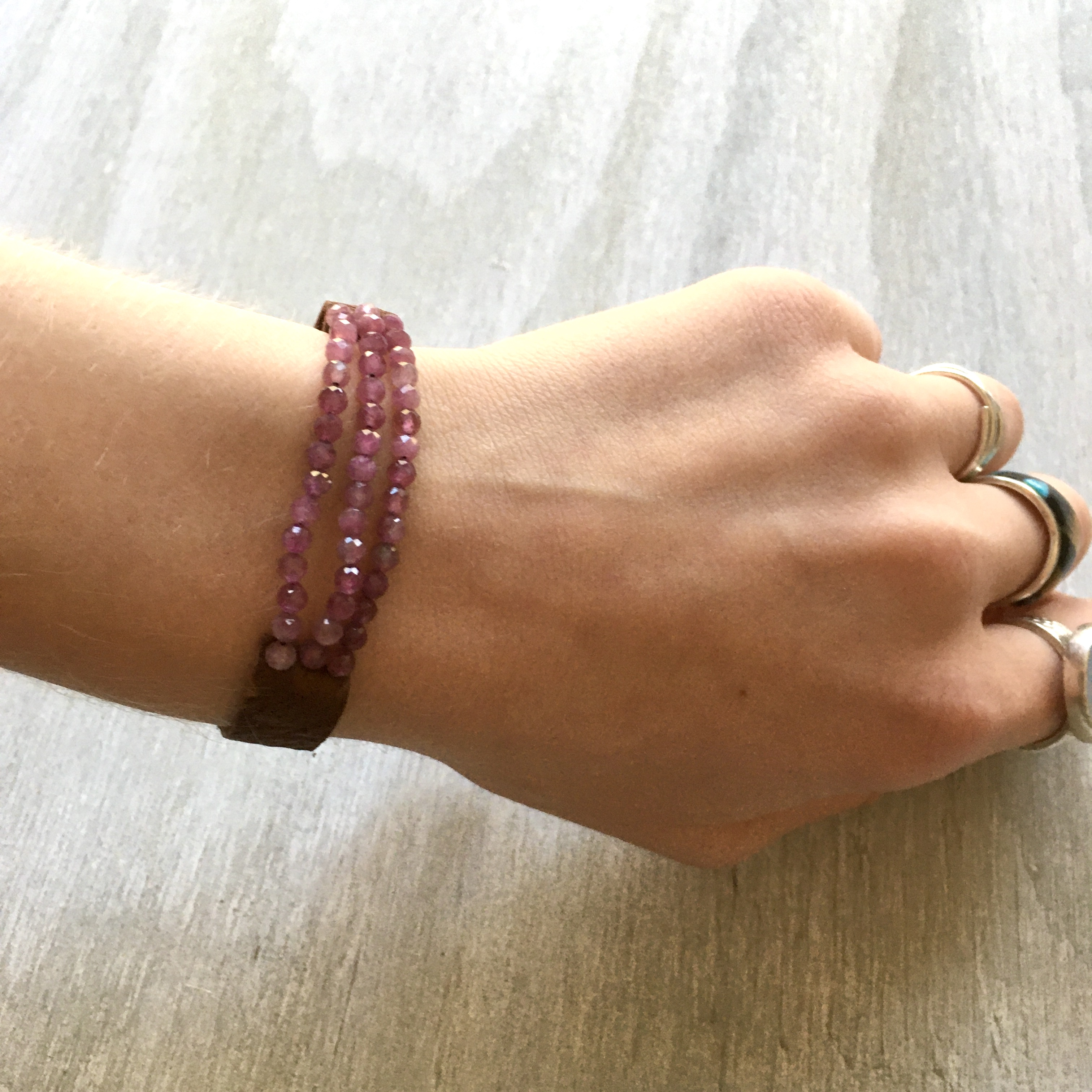 rose tourmaline leather bracelet
