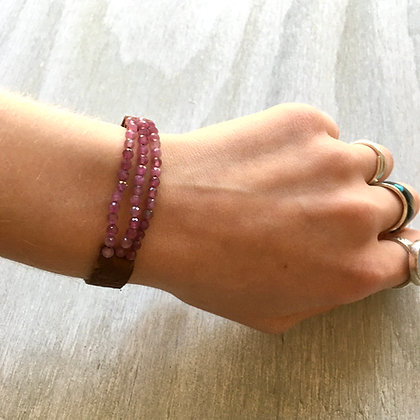 pink tourmaline and leather bracelet