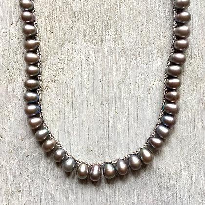 silver pearl drops long crochet necklace
