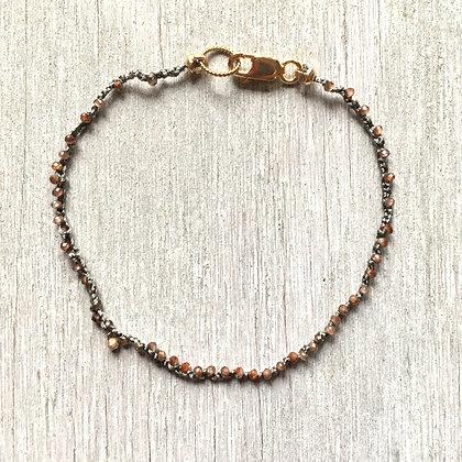 zircon and 14k gold crochet bracelet
