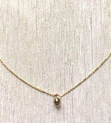 champagne diamond and 14k gold necklace