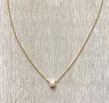 tiny white pearl on gold 16""