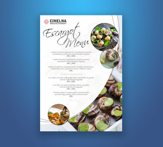 Escargot menu, Hergetova Cihelna