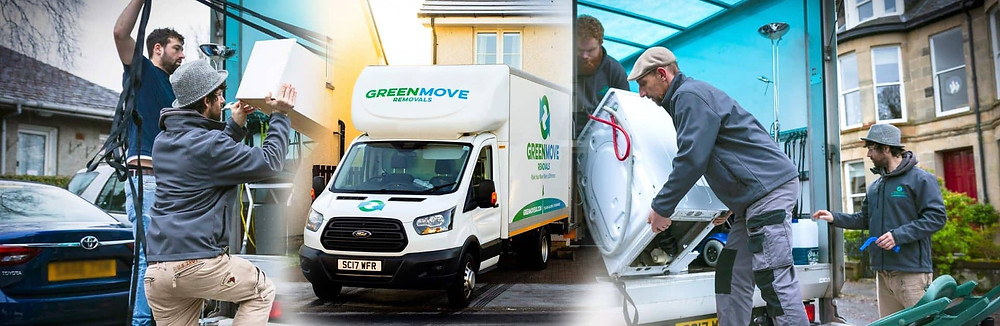 a montage of green move removals hard at work