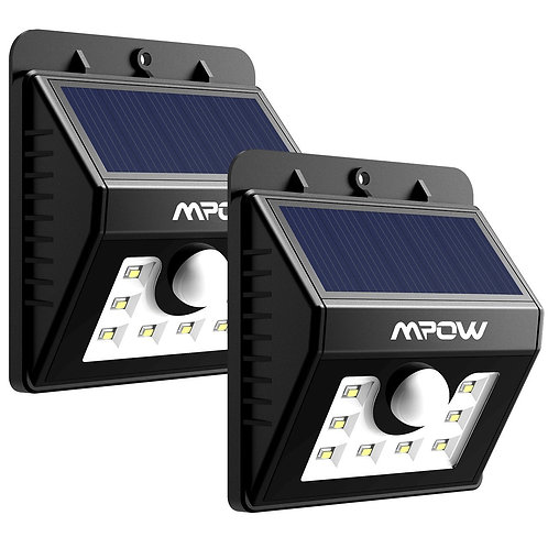 Mpow Solar Lights, 2-Pack 8 LED Bright Solar Powered Security Lights with Motion