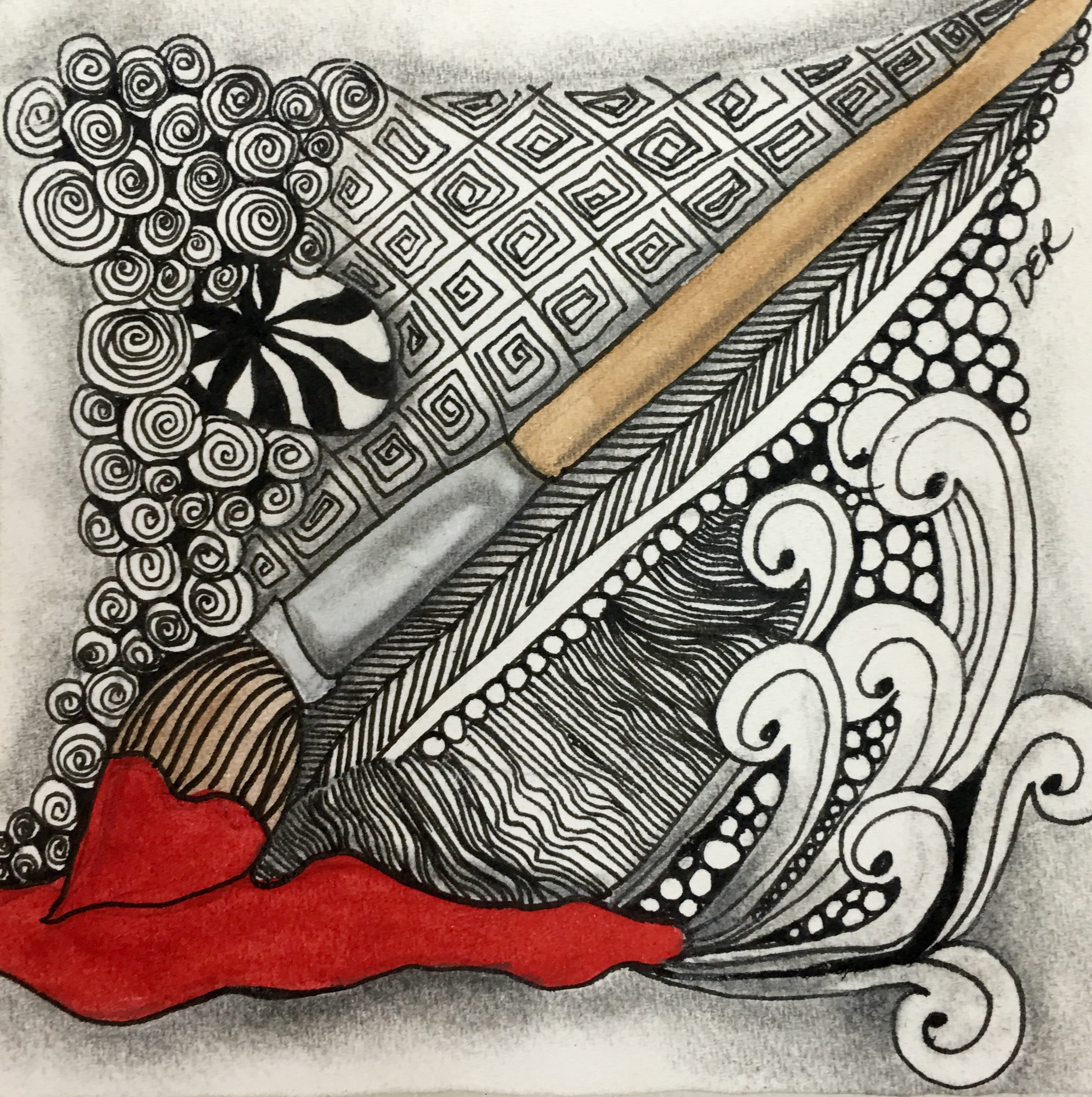 Zentangle Red Paintbrush