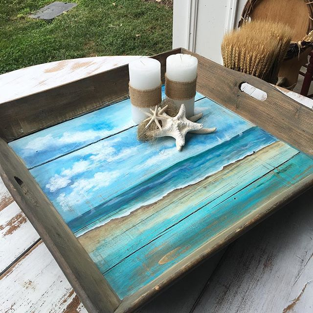 Acrylic Beach painting on a reclaimed wood tray from _vanechstudio staged by owner and interior desi