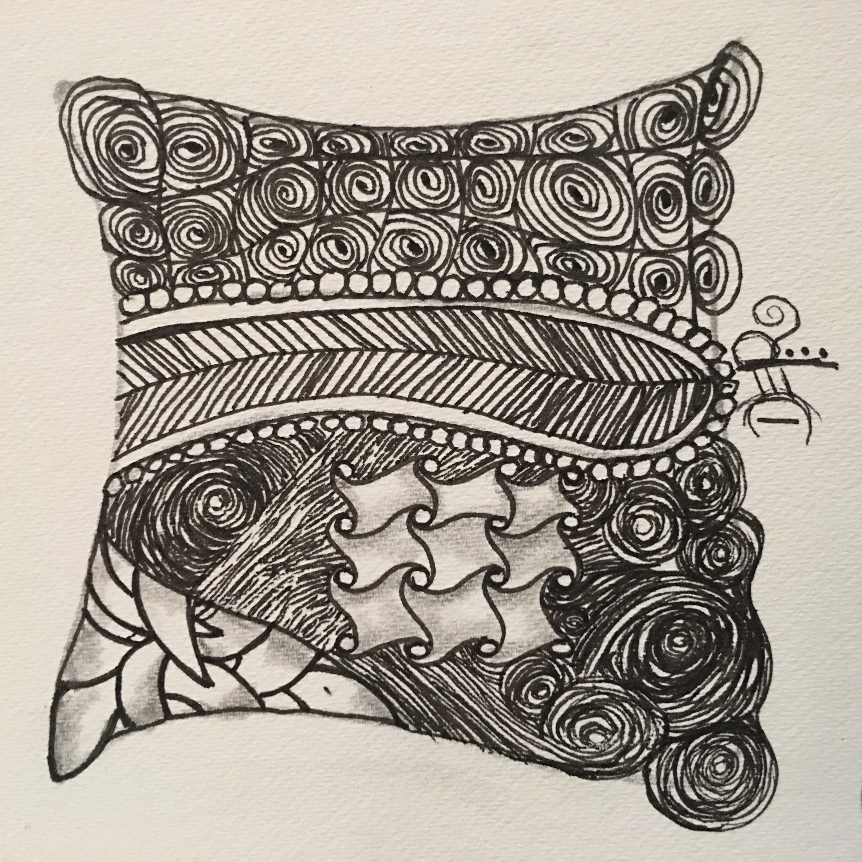 Zentangle White 3.5 in Tile