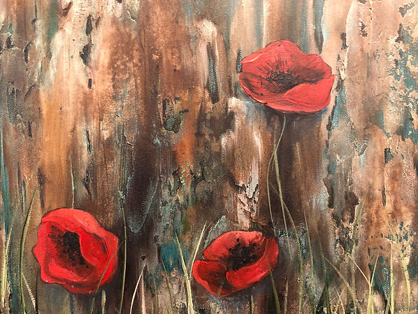 Three poppy flowers painted by Danielle E. Rush