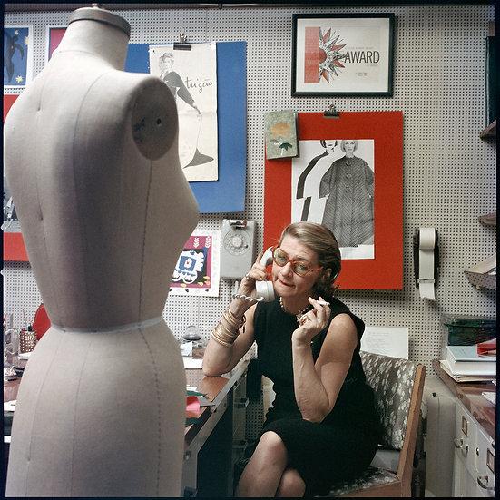 Pauline Trigére in her studio, New York, 1962
