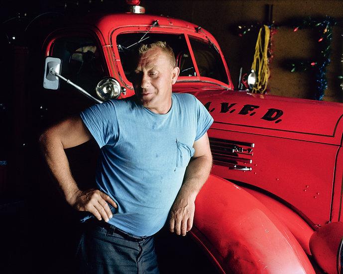 BLUE MAN, RED TRUCK, PRAIRIE DU CHIEN, WI 1976