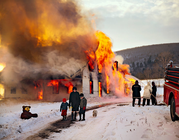 House on fire, Berkshires, Massachusetts, 1963