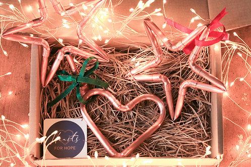 Mini Copper Heart, Mini Star and Tree Topper Gift Box