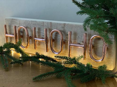 HoHoHo Copper and Wood Sign