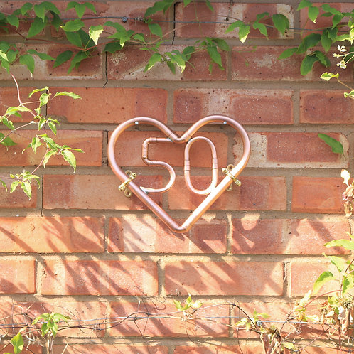 House Number Copper Wall Heart
