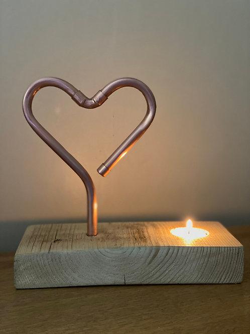 Burning Love Copper Heart Tea Light Holder