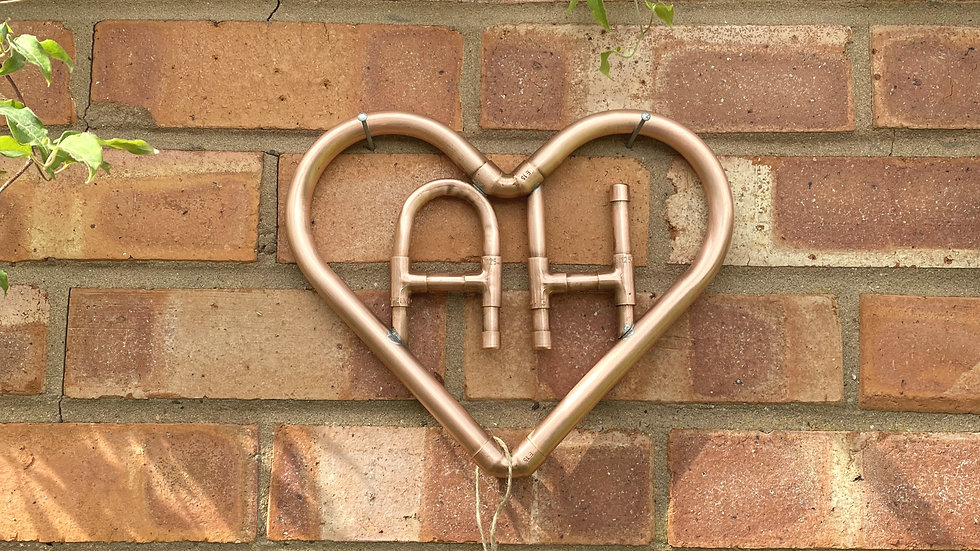 Initial Copper Wall Heart