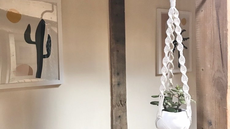 Hooked on Love Bracket with Cotton Macrame Plant Hanger