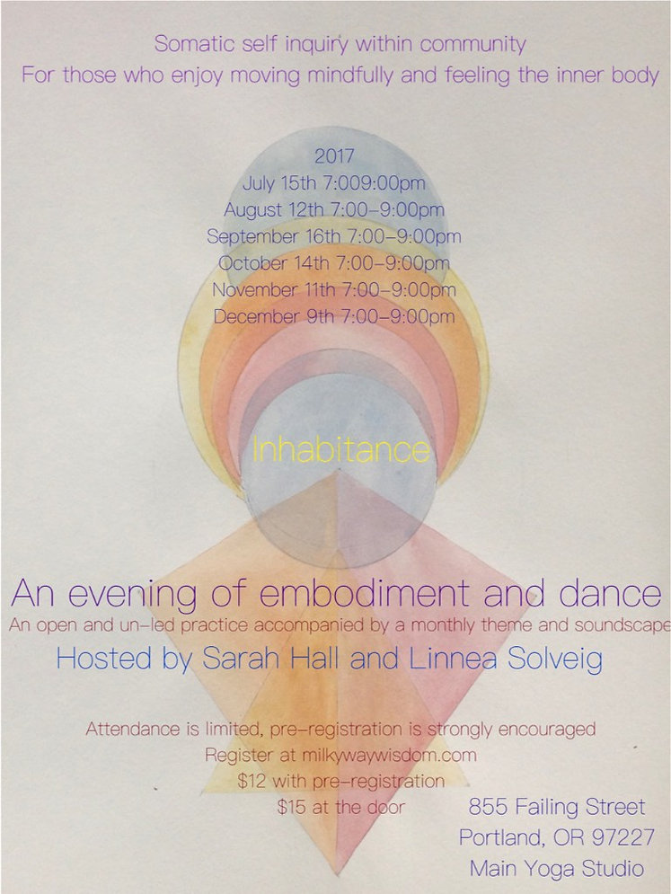 Inhabitance: Embodiment and Dance Flyer hosted by Sarah Hall and Linnea Solveig