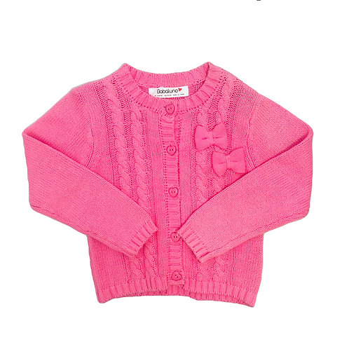 Pink Bow Cable Cardi