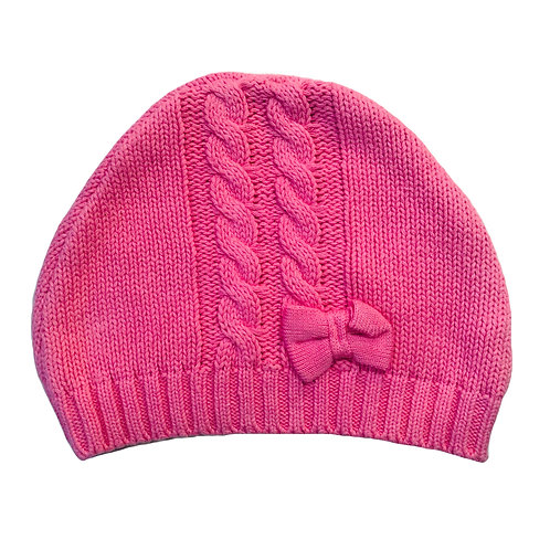 Pink Bow Cable Beanie