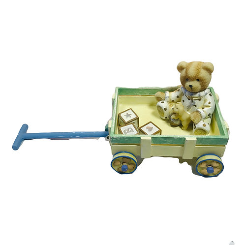 Teddy on Cart Figurine