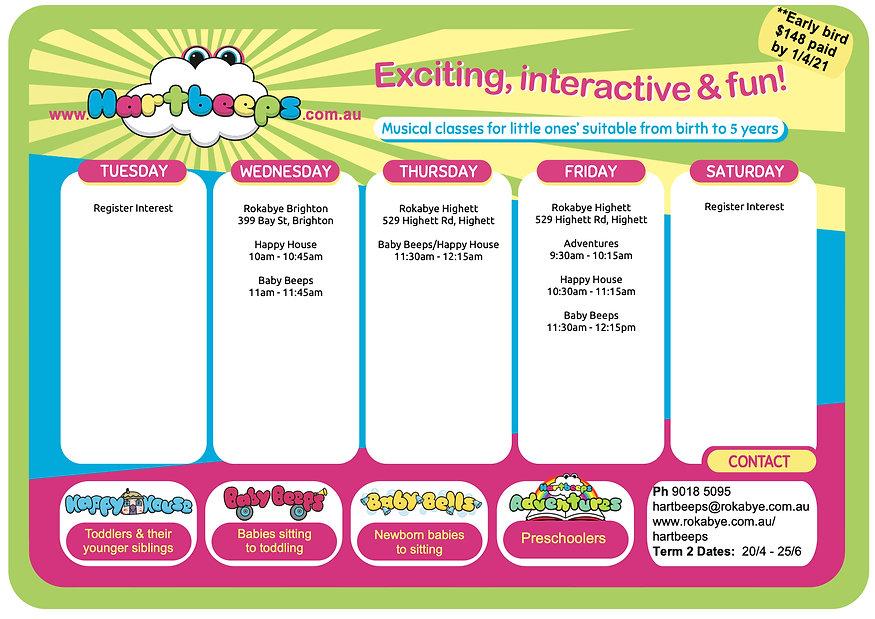 Hartbeeps@Rokabye Timetable 2021, TERM 2
