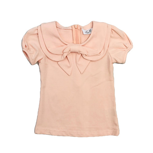 Peach Bow Collar Tee