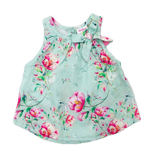 Mint Floral Summer Swing Top