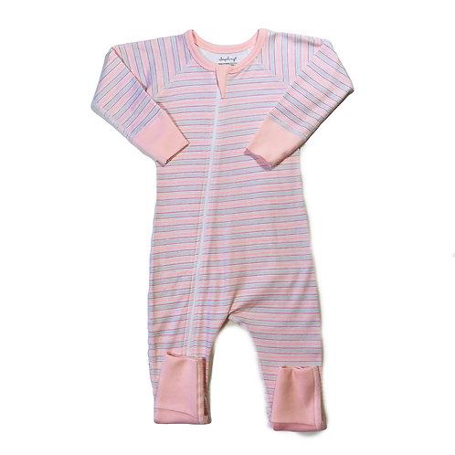 Pink Stripe Zip Romper