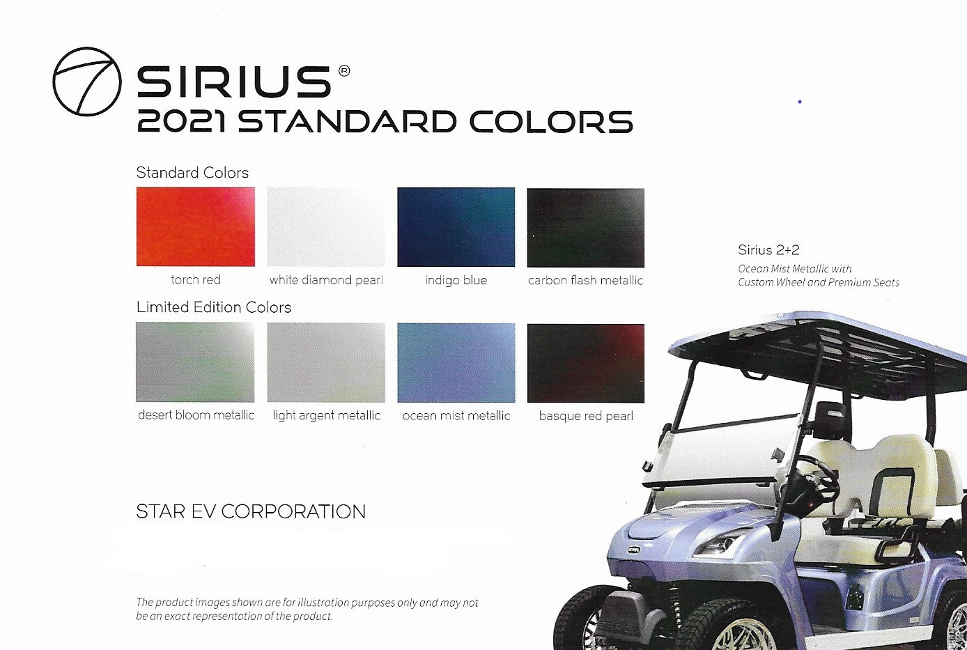 Star Siris Color Chart 2020 Golf Cart US