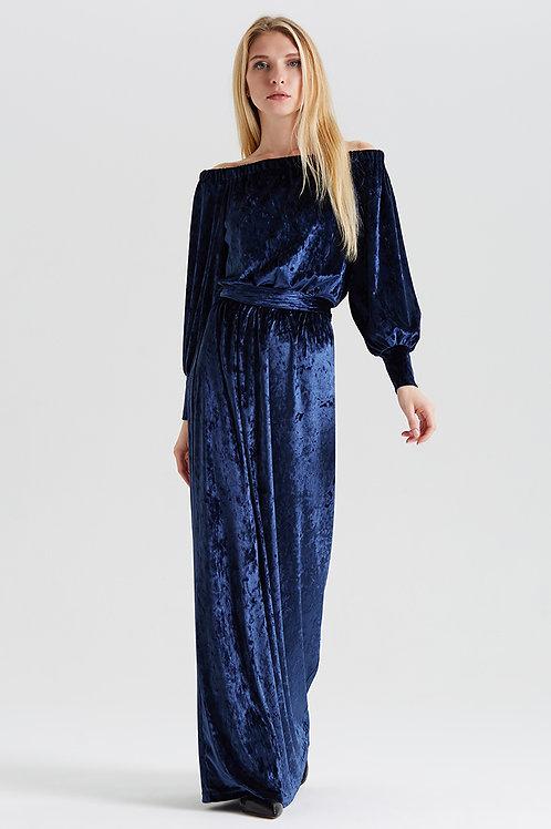 Арт.14991 Платье декольте бархат с манжетом длинное new, темно-синий