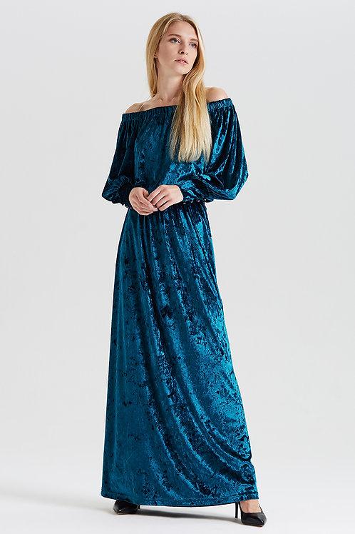 Арт.14988 Платье декольте бархат с манжетом длинное new, морская волна